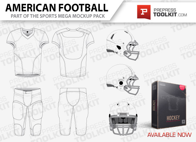 American Football uniform vector mockup template