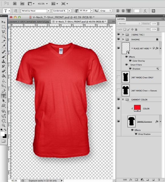 Add a Greymarle fabric to t-shirt design template 01