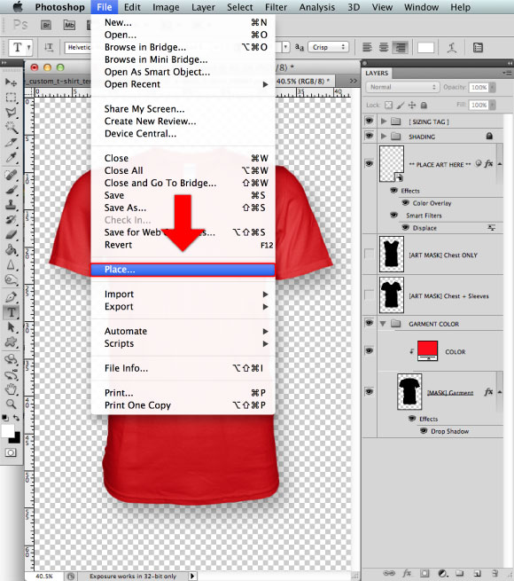 Add a Greymarle fabric to t-shirt design template 02