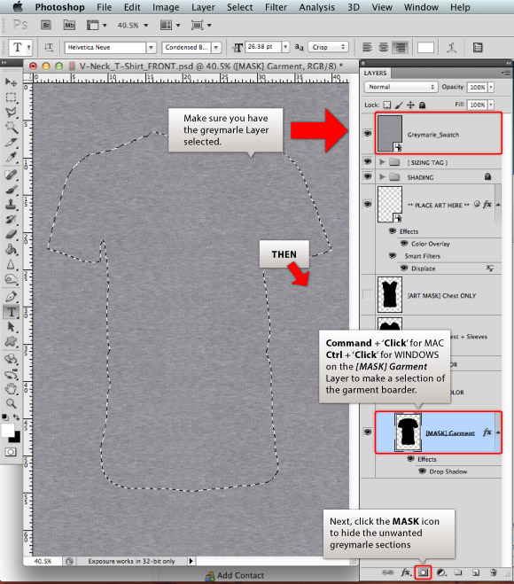 Add a Greymarle fabric to t-shirt design template 03