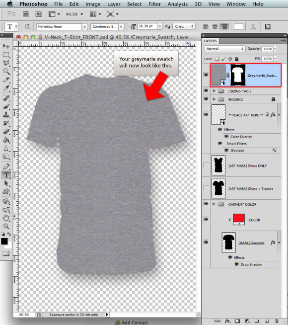 Add a Greymarle fabric to t-shirt design template 04 | Prepress ...