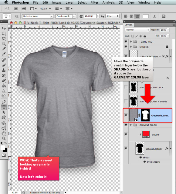 Add a Greymarle fabric to t-shirt design template 05