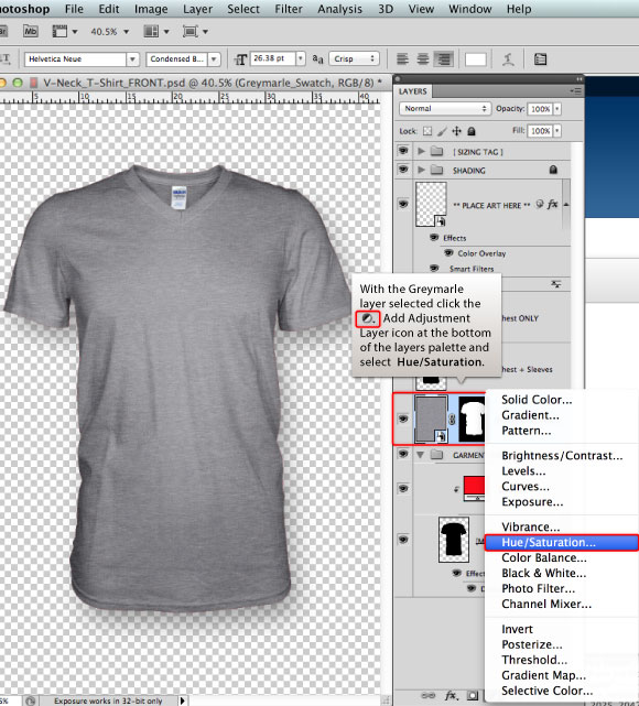 Designing T Shirts Photoshop Tutorial: Marle colored t-shirt design template in 6 steps PHOTOSHOP TUTORIALrh:prepresstoolkit.com,Design