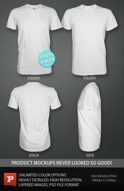 ghosted t shirt design template psd with bonus v neck t shirt template