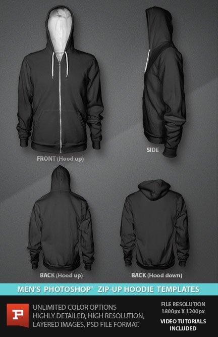 Photorealistic Custom Zip Hoodie Template PSD