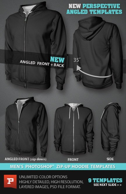 Photorealistic custom zip hoodie template psd mens blank zip up hoodie mockup template psd files pronofoot35fo Choice Image