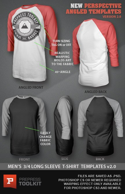 Ghosted - 3/4 Long Sleeve Raglan T-Shirt Template (PSD)