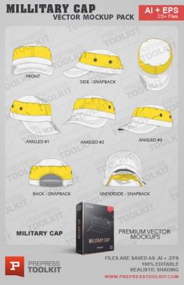 Vector Military Cap snapback mockup template illustrator