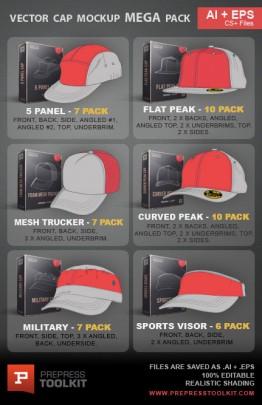 Vector caps hats mega mockup template pack