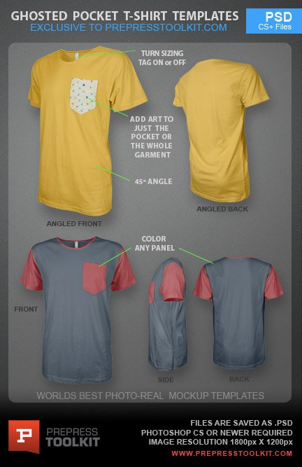 Ghosted Pocket TShirt Design Template PSD - Pocket t shirt template