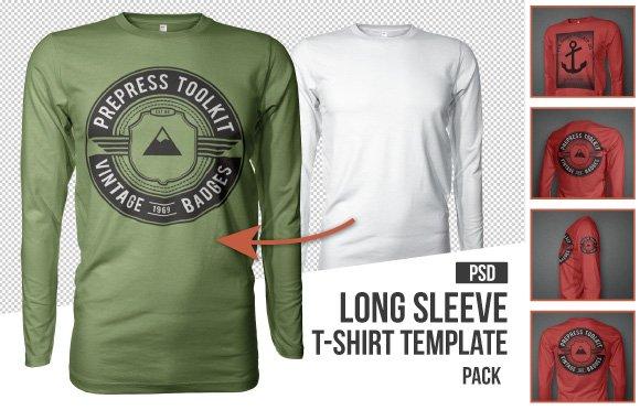 Mens long sleeve t-shirt mockup template psd